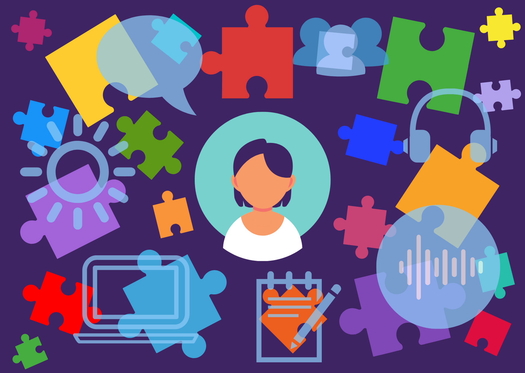 An illustration of a person's head and shoulders surrounded by colourful puzzle pieces, and icons for speech, people, sound, writing, screens, and brightness.