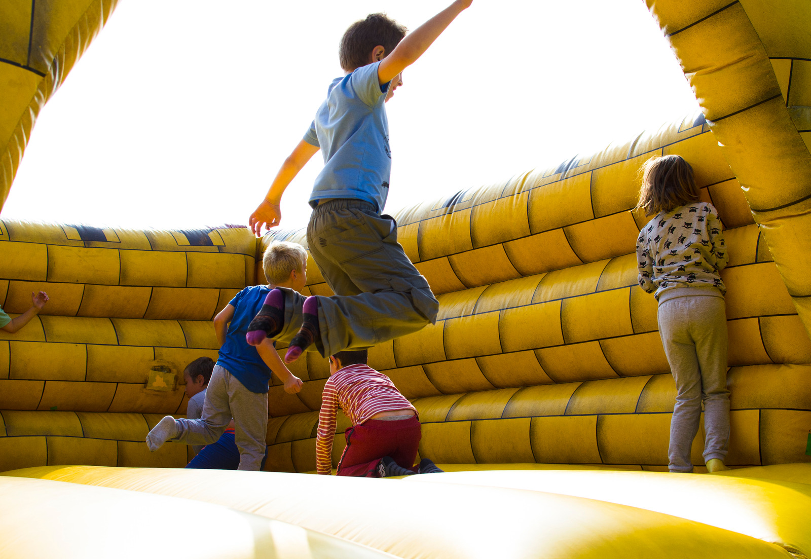 Kids on a jumping castle