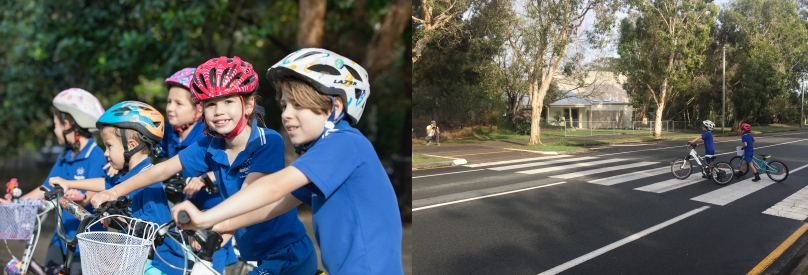 Left: Photo of five Sunshine Beach State School children on bikes. Right: Photo of two Sunshine Beach State school children on a pedestrian crossing with bikes, with trees and a building in the background.