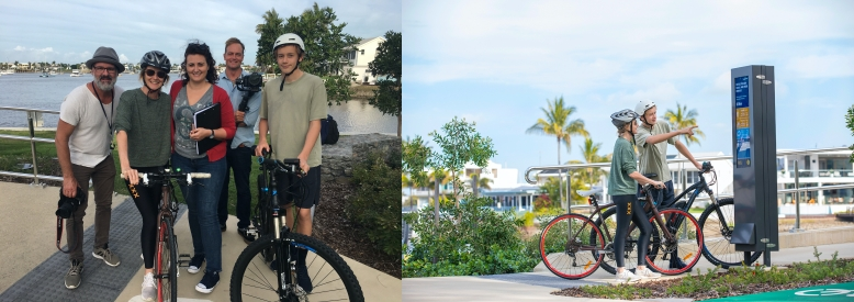 Left: Photo of five people on the Mayes Canal bridge with bikes and camera equipment, with water, buildings and trees in the background. Right: Photo of two young people on bikes looking at the digital bike counter and buildings in the background.