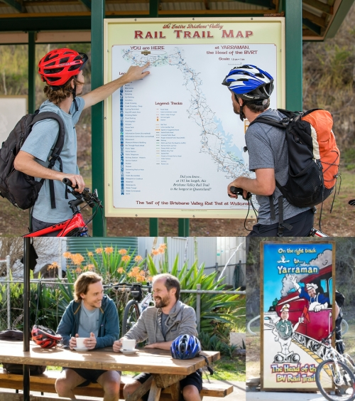 Top: Photo of 2  men from behind with bikes looking at a map. Bottom left: Photo of 2 men sitting at an outdoor table drinking coffee. Bottom right: Photo of a colourful sign with images and text