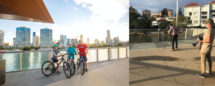 Left: Three young people standing with bikes and the Brisbane River and buildings in the background.  Right: Photo of two men with camera equipment and building in the background
