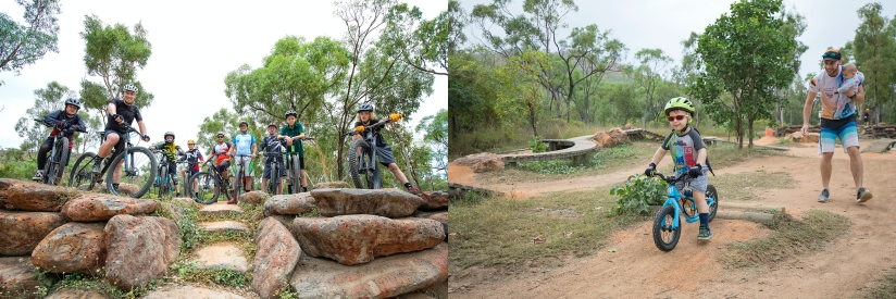 Left: Photo of children and adults on mountain bikes with rocks in the foreground and trees in the background.  Right: Photo of a child riding a bike and a man holding a baby.