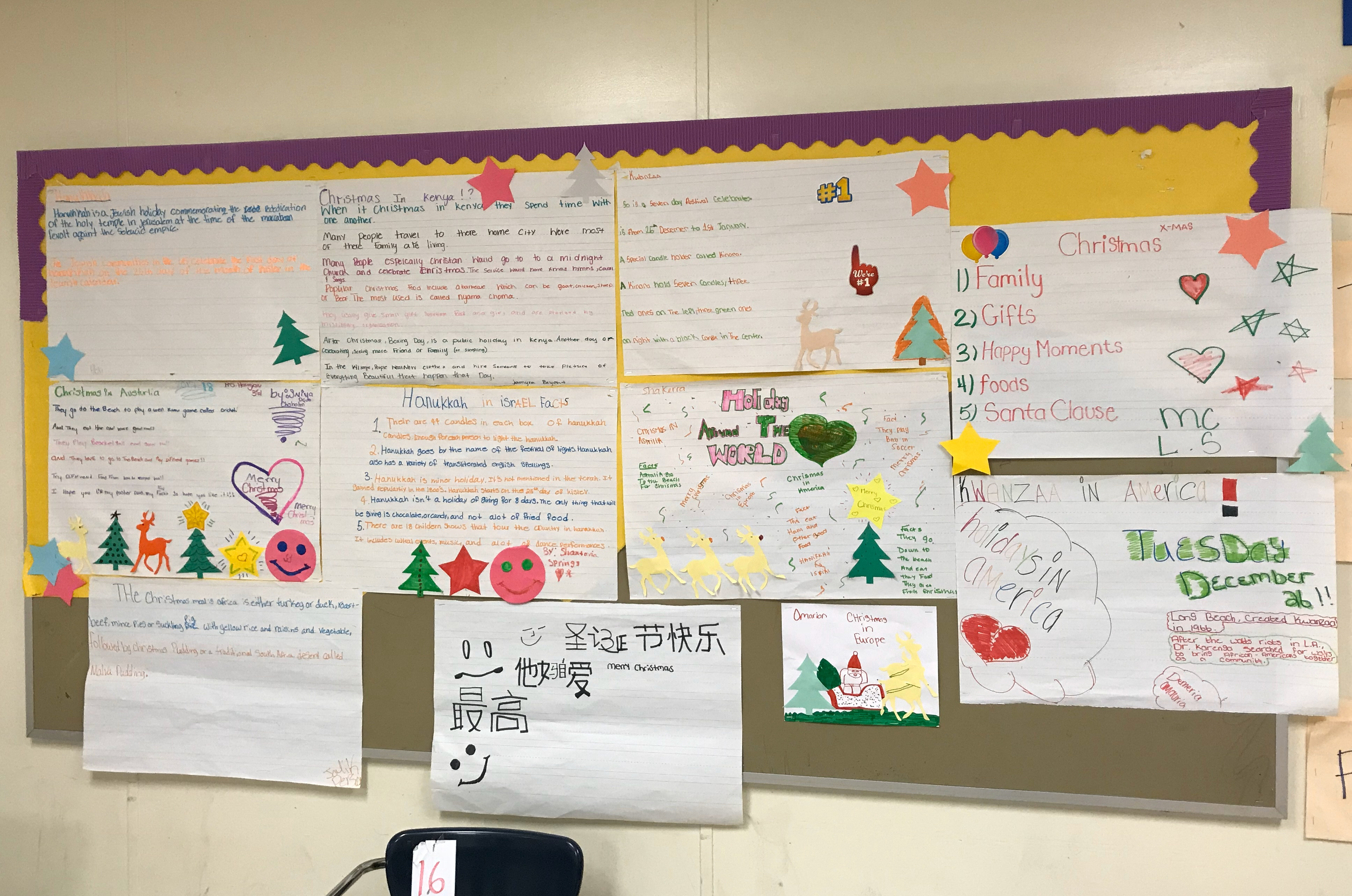 A classroom pinboard. There is some coloured paper backing and border, but most has been torn away. The board is covered with posters with colourful handwriting and paper cut-outs in the shape of Christmas trees, stars, and reindeer.