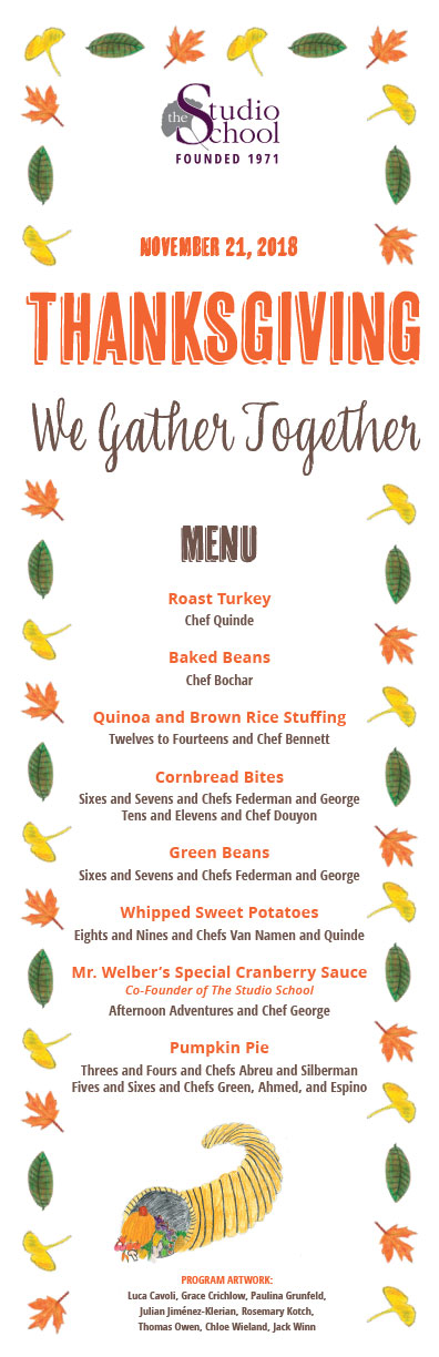 Thanksgiving menu