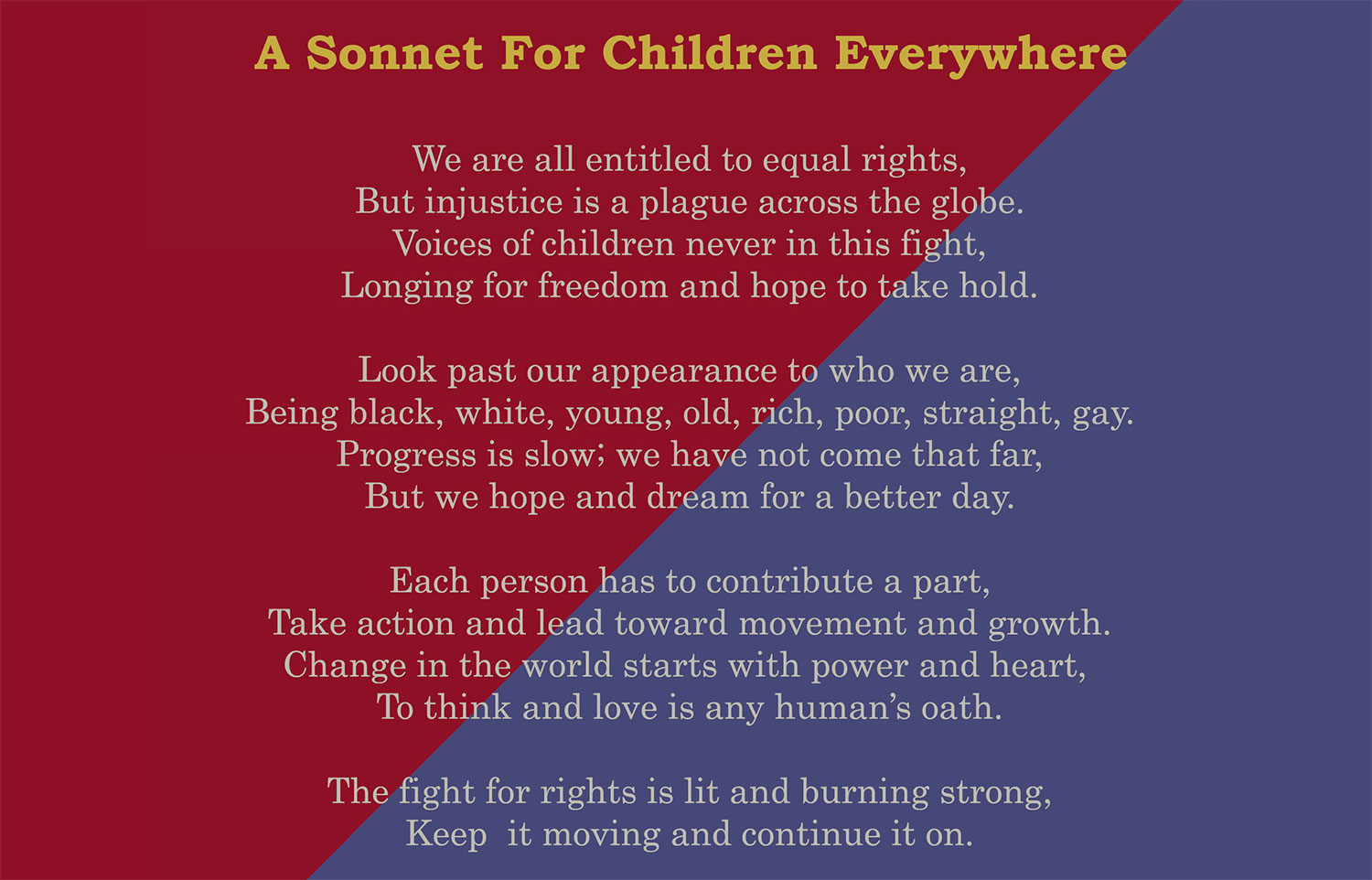 A Sonnet For Children Everywhere