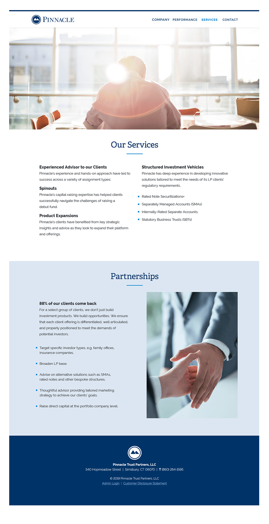Pinnacle Services Page Screen Shot