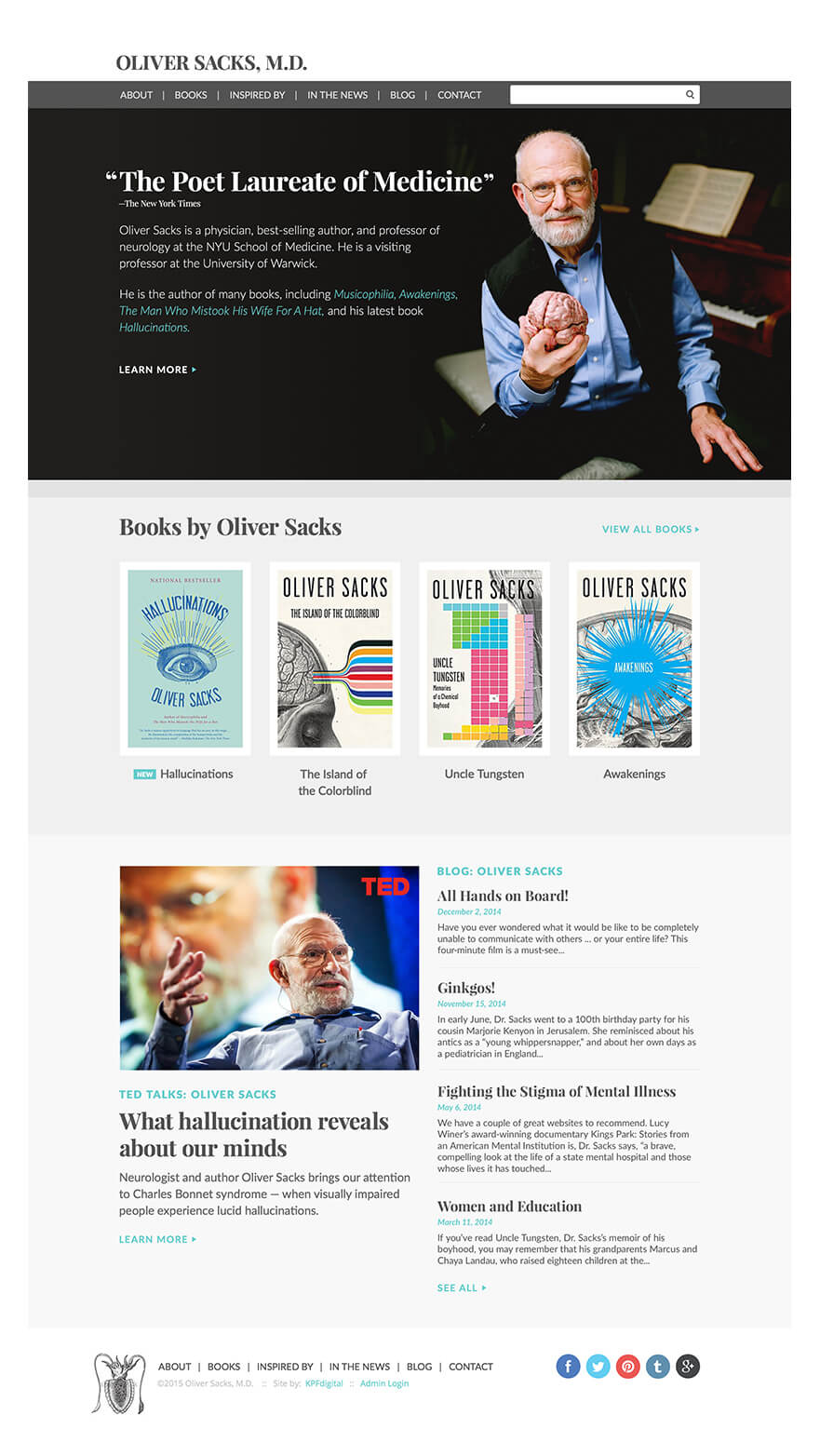 Oliver Sacks Home Page Screen