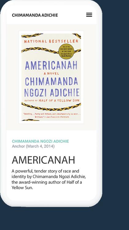 Chimamanda Adichie Mobile Screen