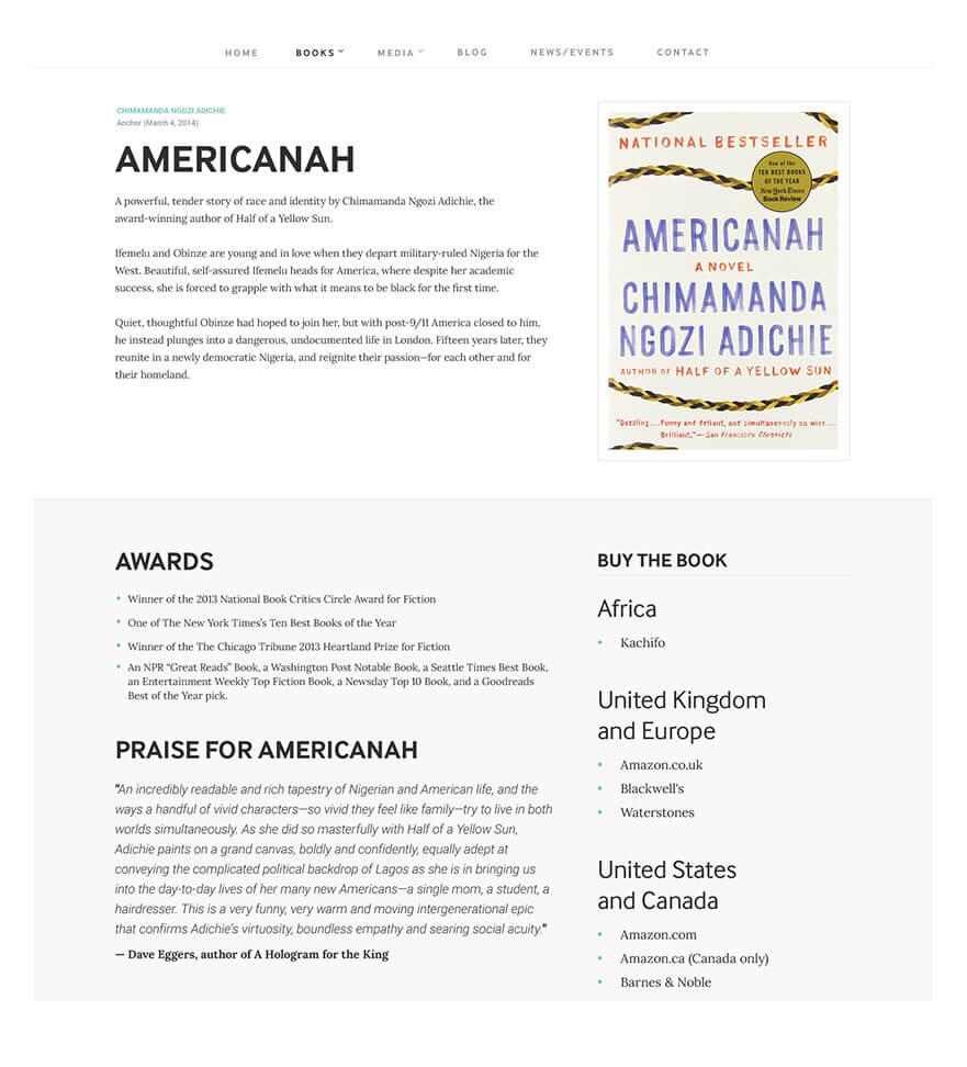 Chimamanda Book Detail Screen