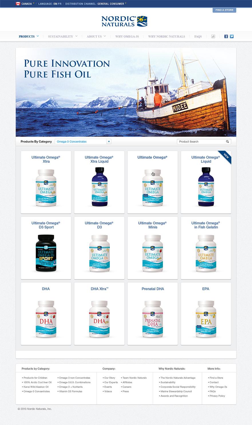 Nordic Naturals CA Products Screen
