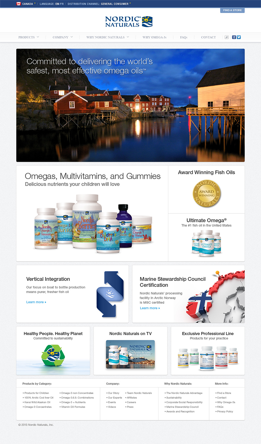 Nordic Naturals CA Home Page Screen