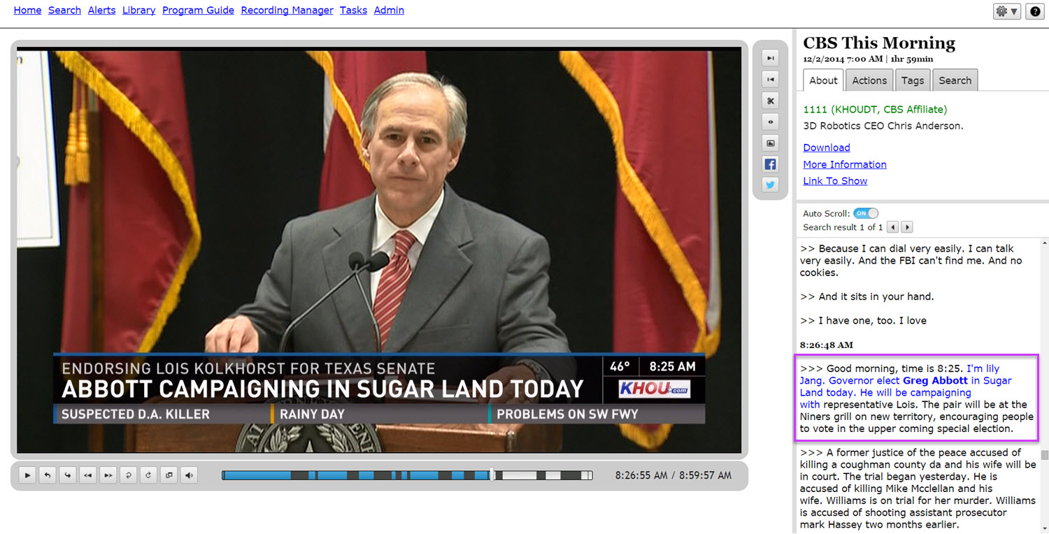 TV search for Greg Abbott