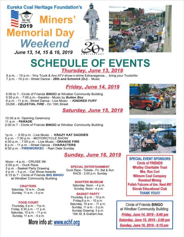 Miners' Memorial Day - June 13-16, 2019