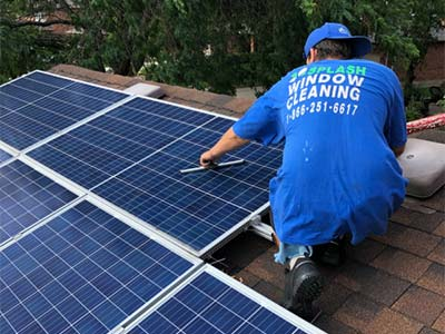 Solar panel cleaning by Splash Window Cleaning
