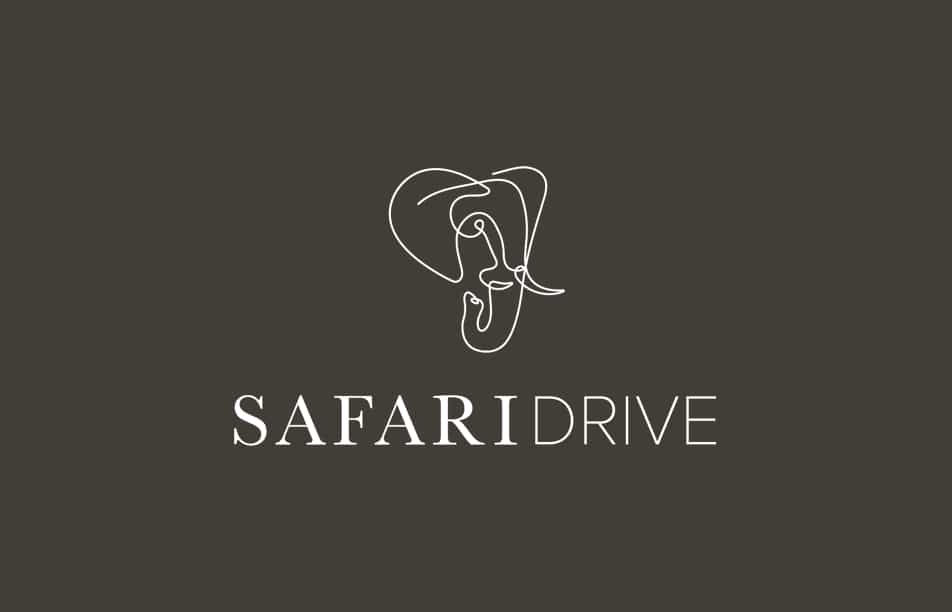 The new Safari Drive logo suite on a brown background