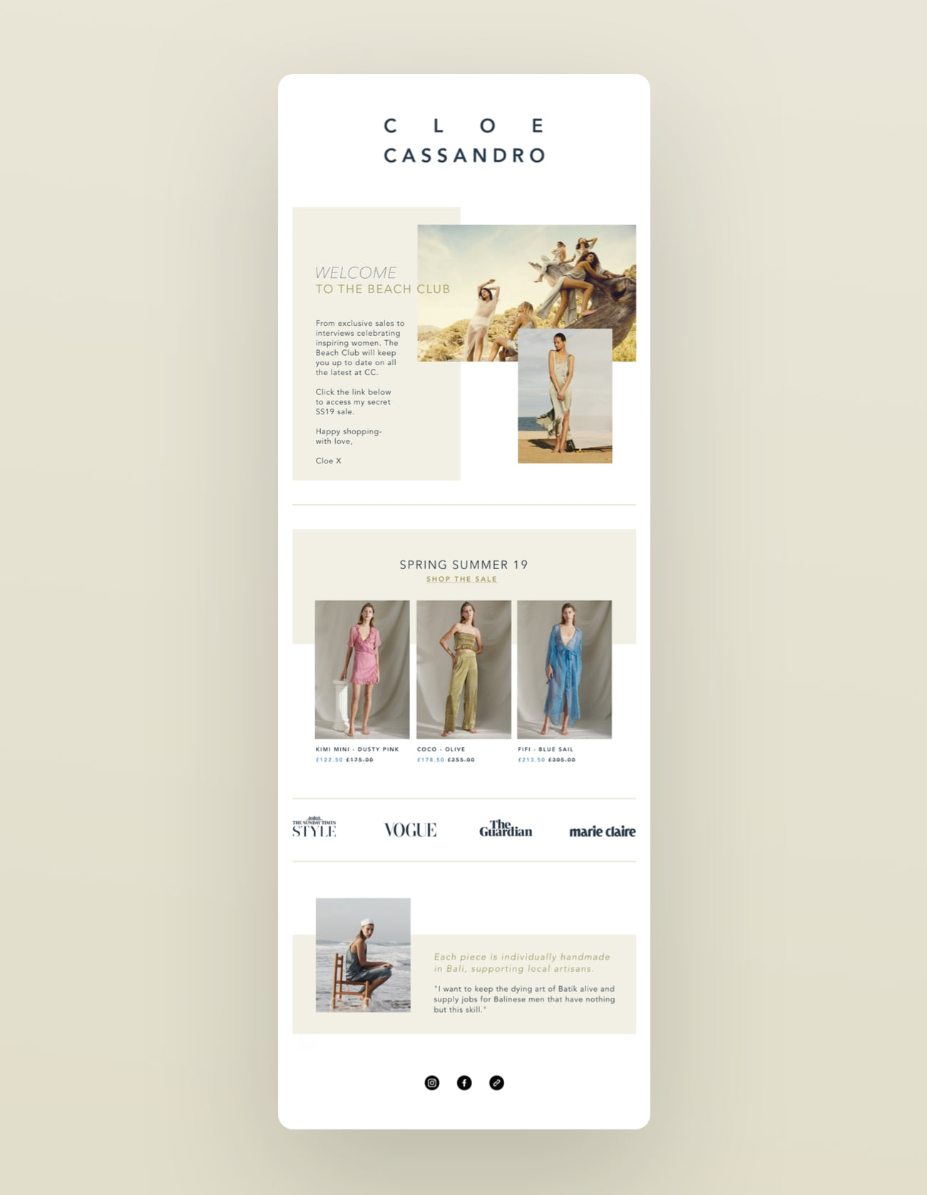 One of the refreshed Cloe CAssandro newsletter