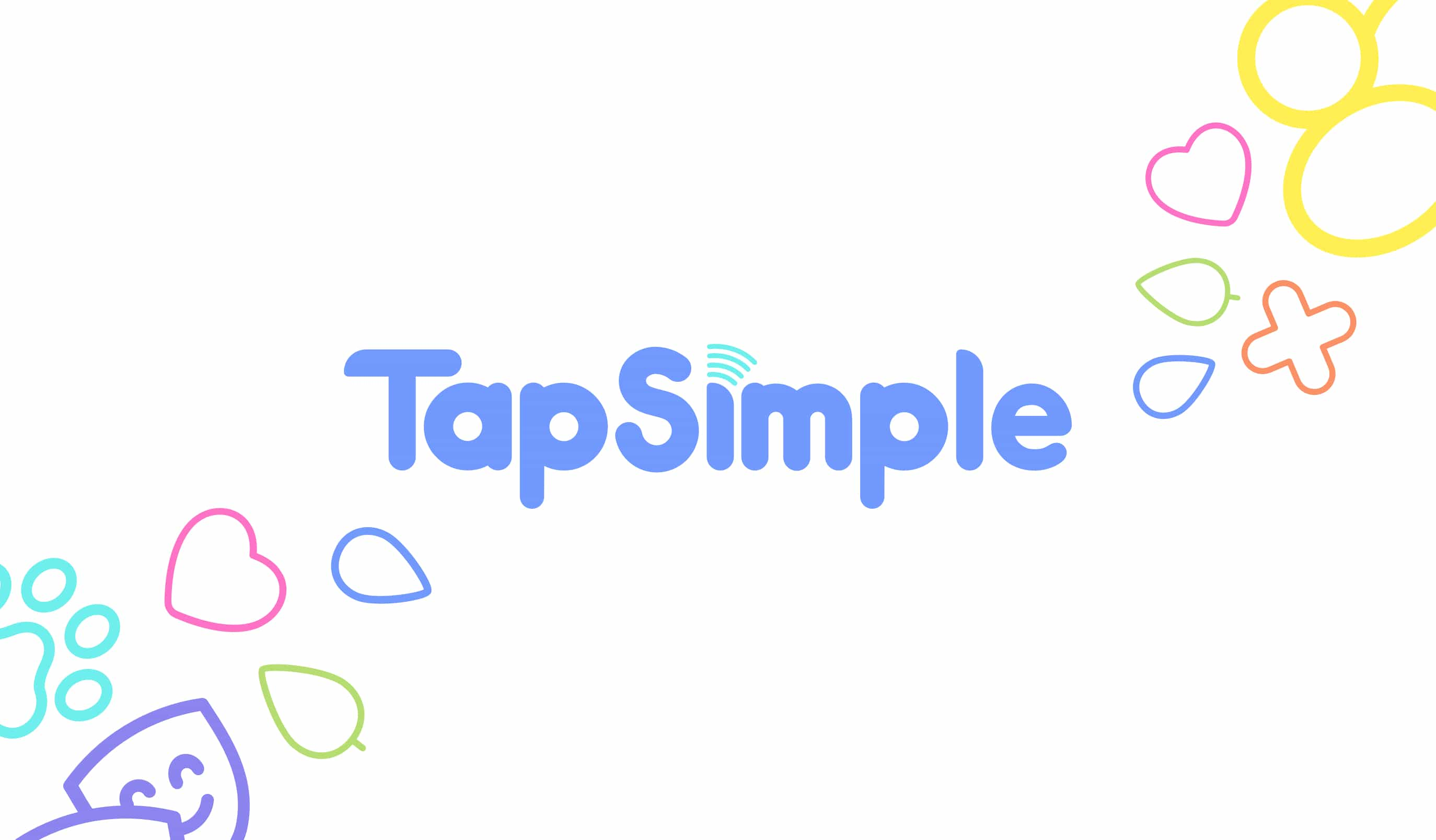 The TapSimple branding scene, logo with background icons