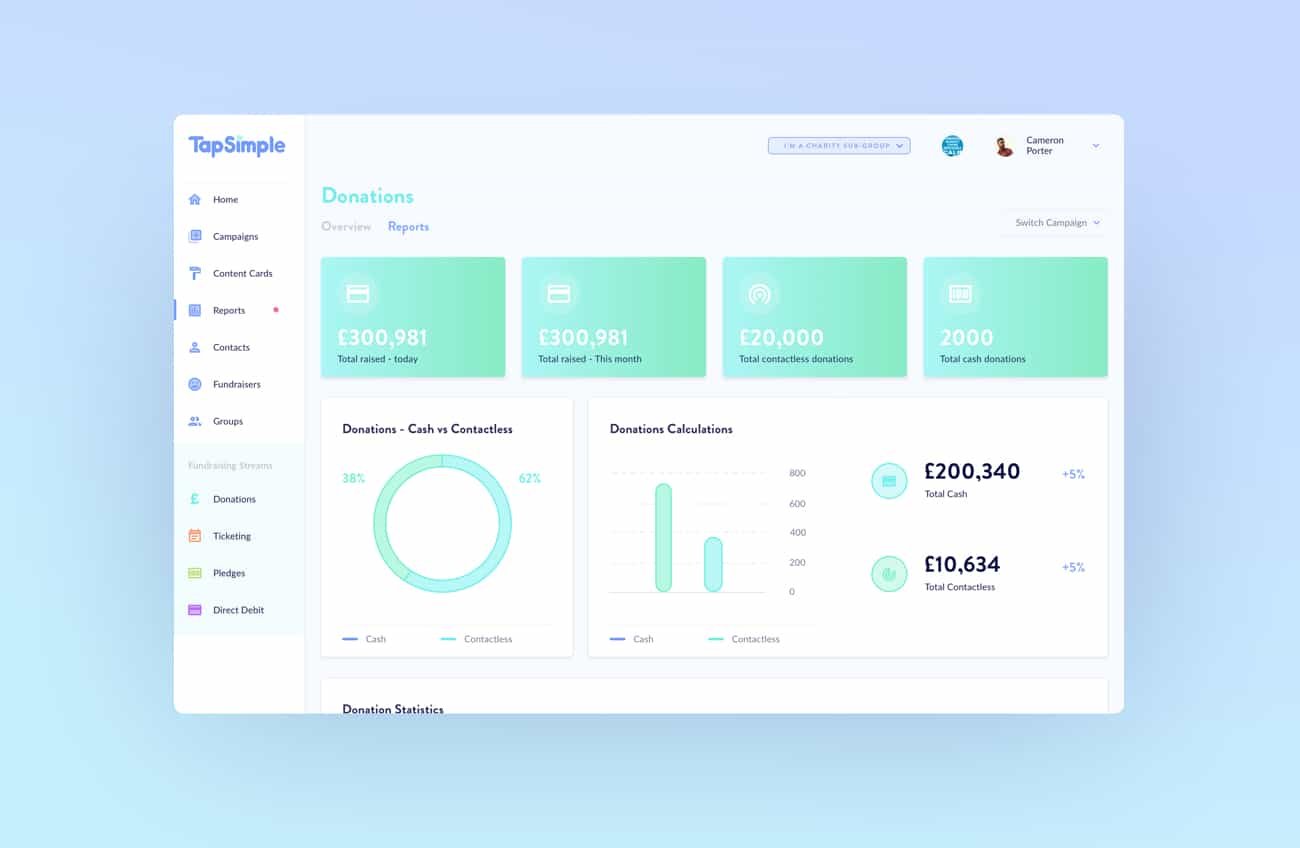 The donations section of the TapSimple dashboard