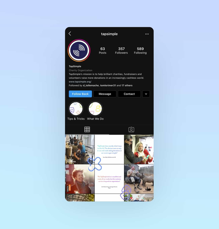 The TapSimple Instagram profile