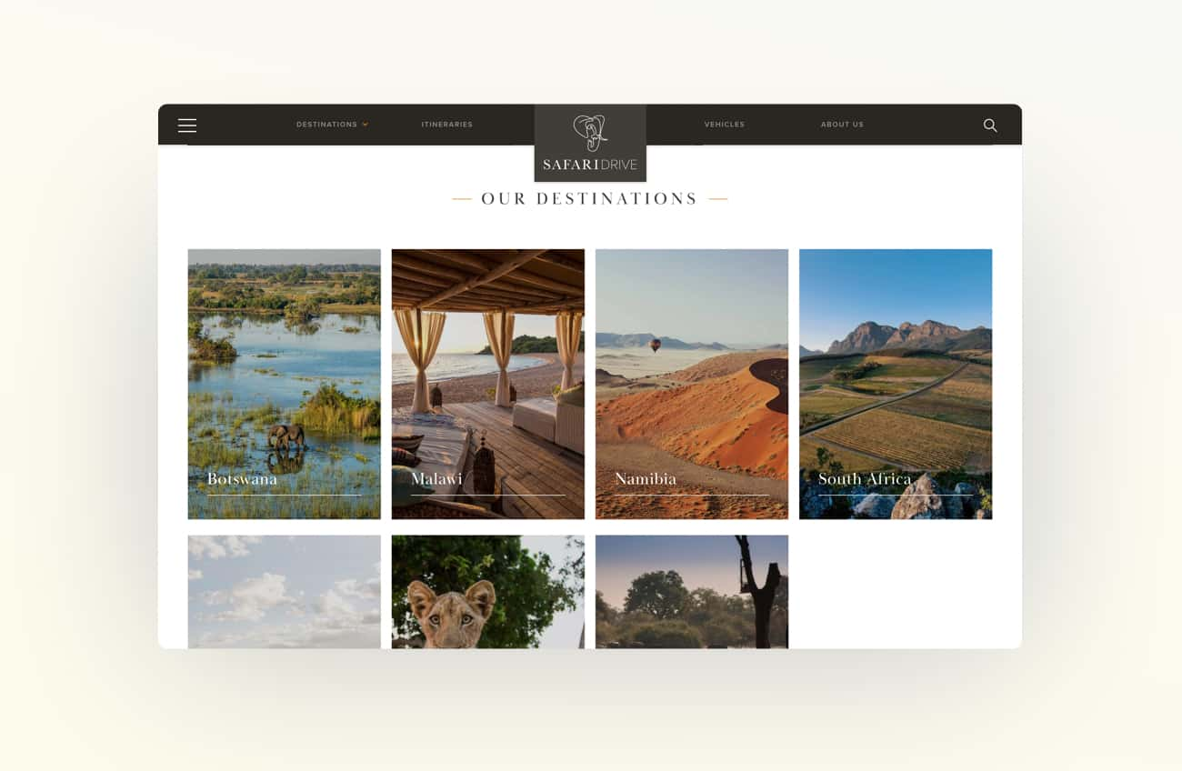 Still of the Safari Destinations page