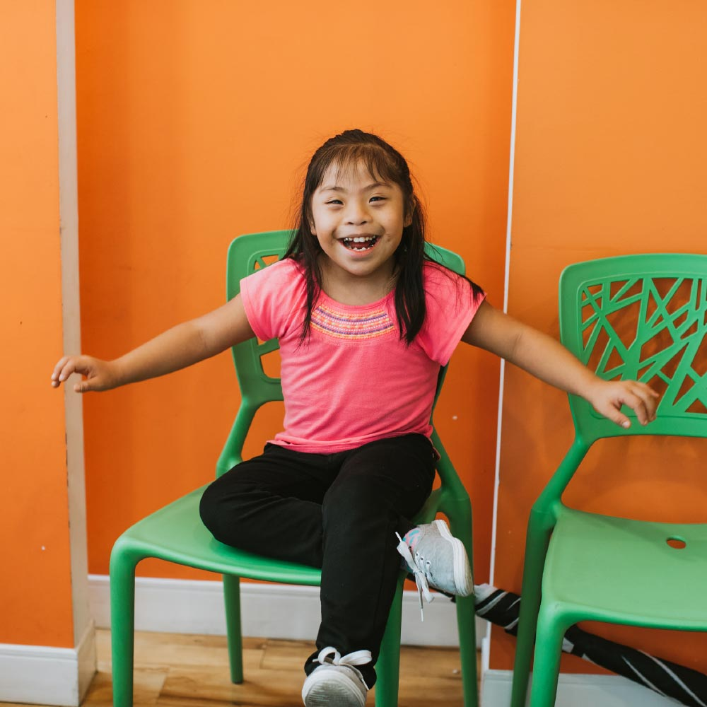 Photo of a young patient in a chair