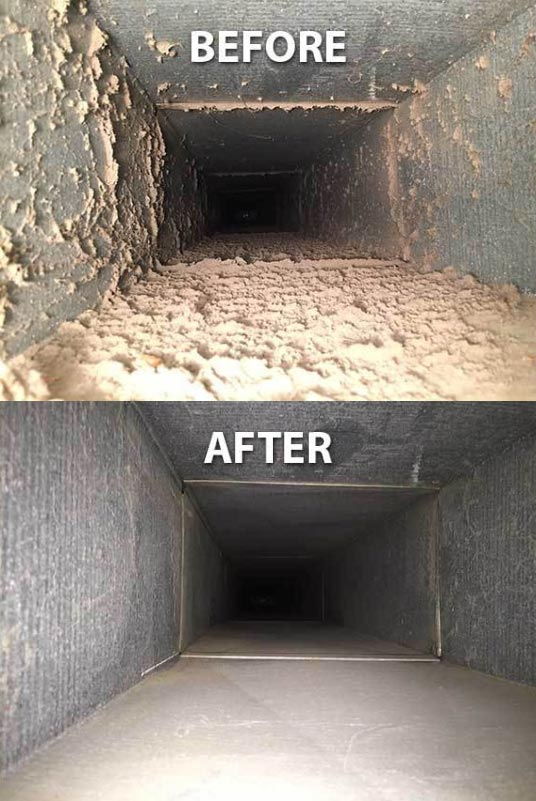 Air duct before and after cleaning in Metro Detroit, MI
