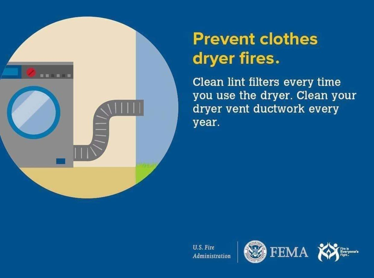 FEMA advice on helping to prevent dryer fires