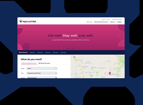 MyHealth1st booking portal UI on laptop