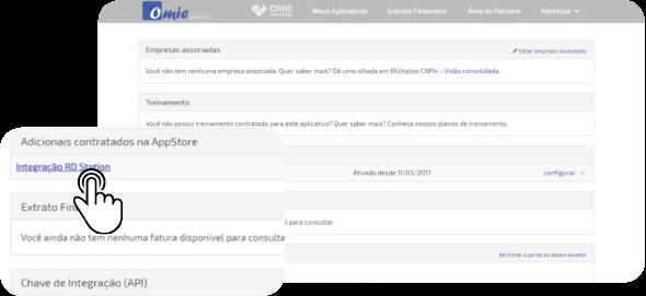 Ao acessar o aplicativo, você verá em Adicionais Contratados na AppStore a Integração RD Station. Clique em Configurar