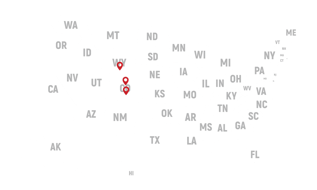 US Map with Location markers on Colorado and Wyoming