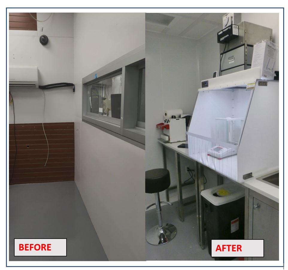 building cleanroom lab USP 797 in a small compounding space.