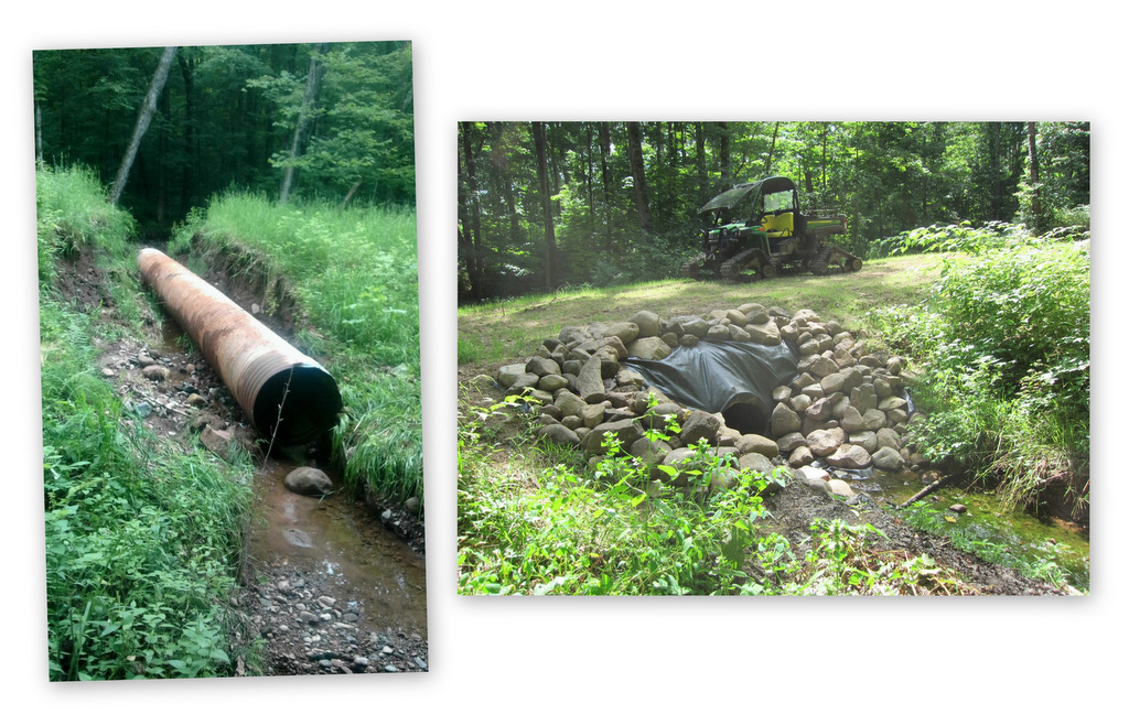 Blue Hills Trail summer 2016 showing blown out culvert before and after repair