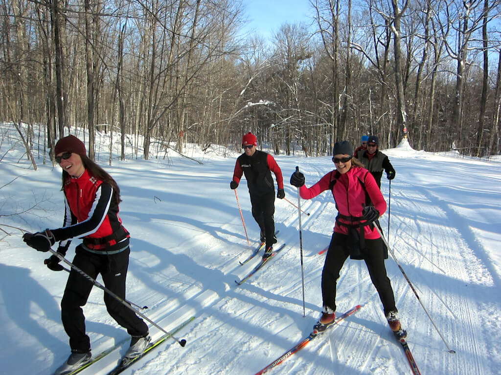 enthusiastic group of skiers at the Blue Hills Trail