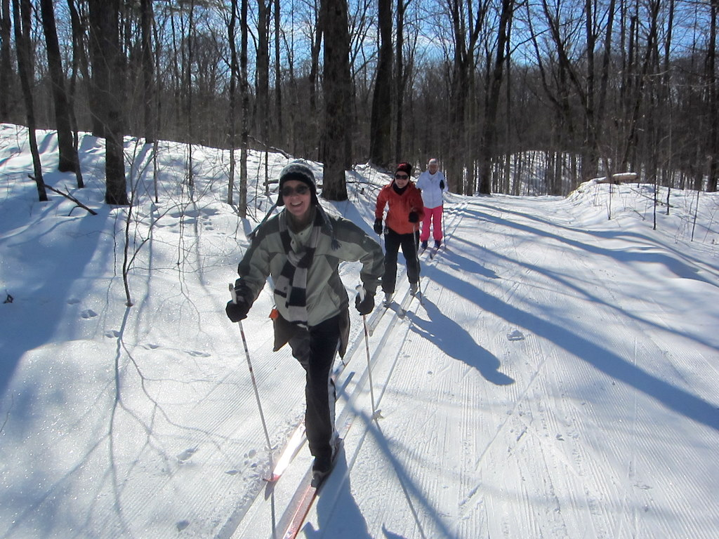 skiers enjoying the classic track February 2012 at the Blue Hills Trail