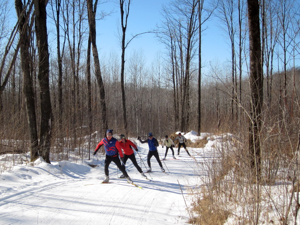 a group of skate skiers enjoying the Blue Hills Trail February 2012