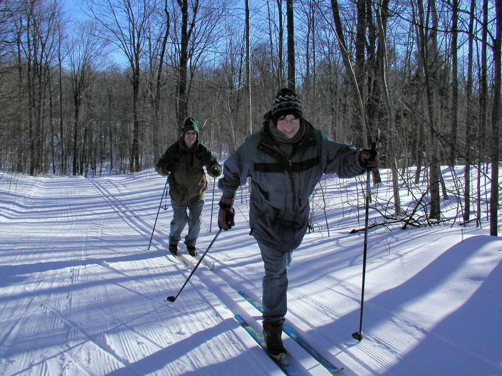 classic skiers enjoying the East Side of the Blue Hills Trail