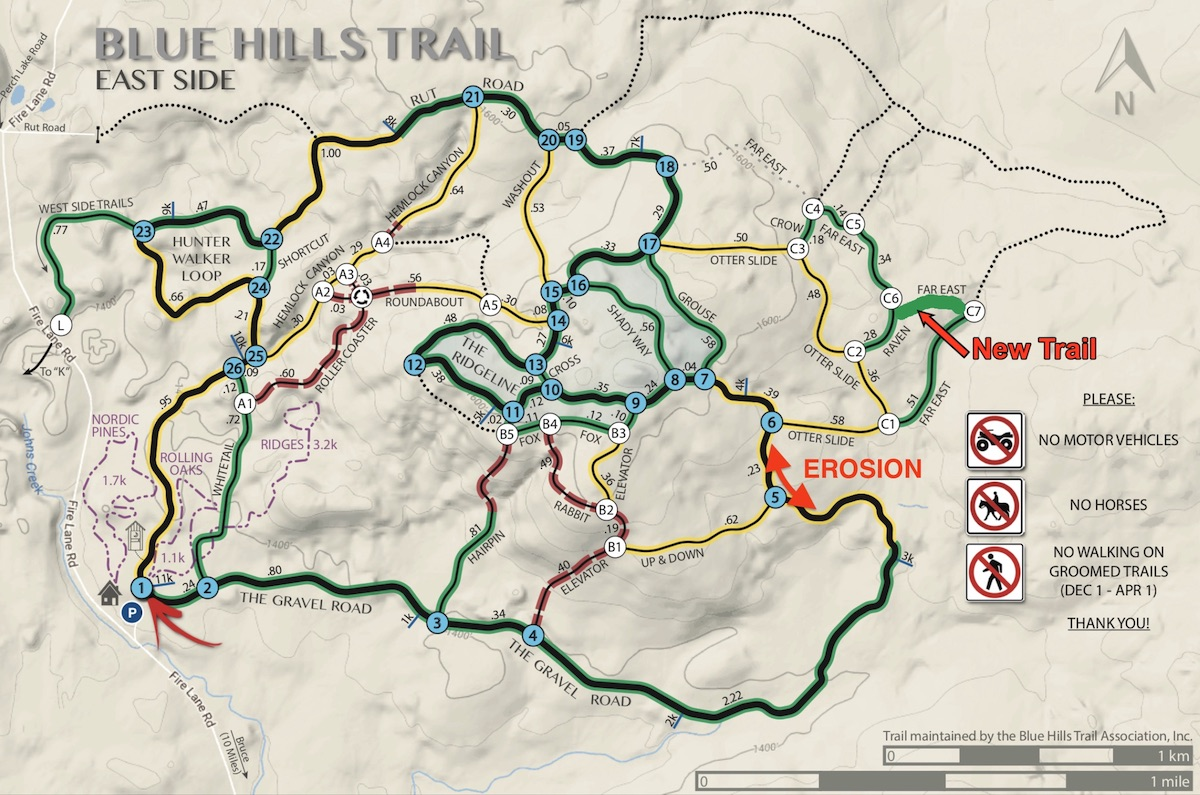 Blue Hills Trail map highlighting an area of erosion