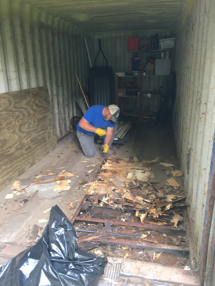 replacing flooring in an older shipping container