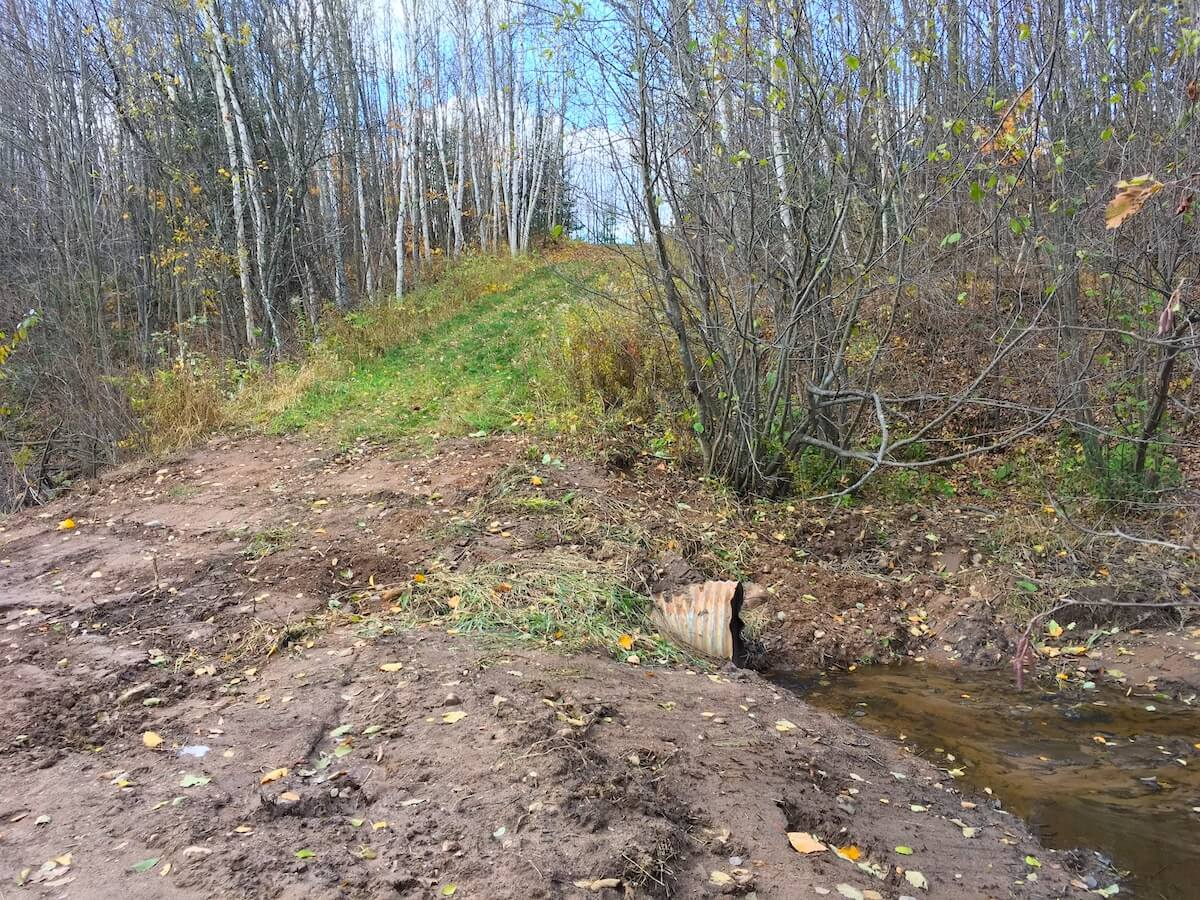 new and larger culvert on the West Side of the Blue Hills Trail