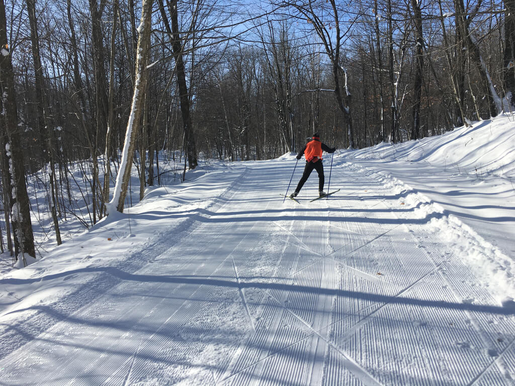 skate skiing on the Blue Hills Trail