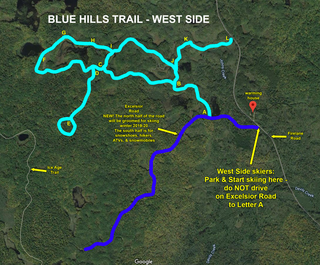 map highlighting Excelsior Road as part of the Blue Hills Trail