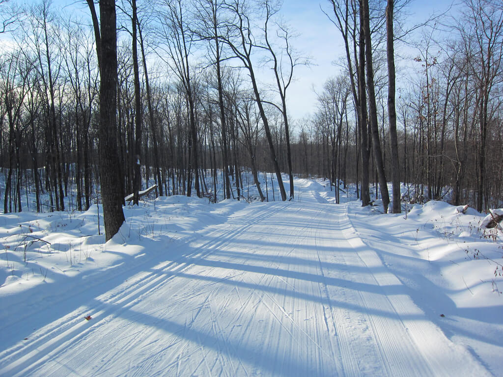 beautifully groomed cross country ski trail