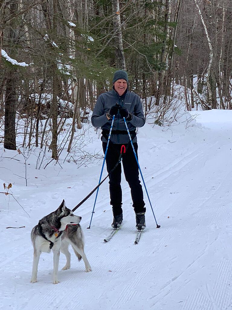 skijoring on the Blue Hills Trail in northwest Wisconsin