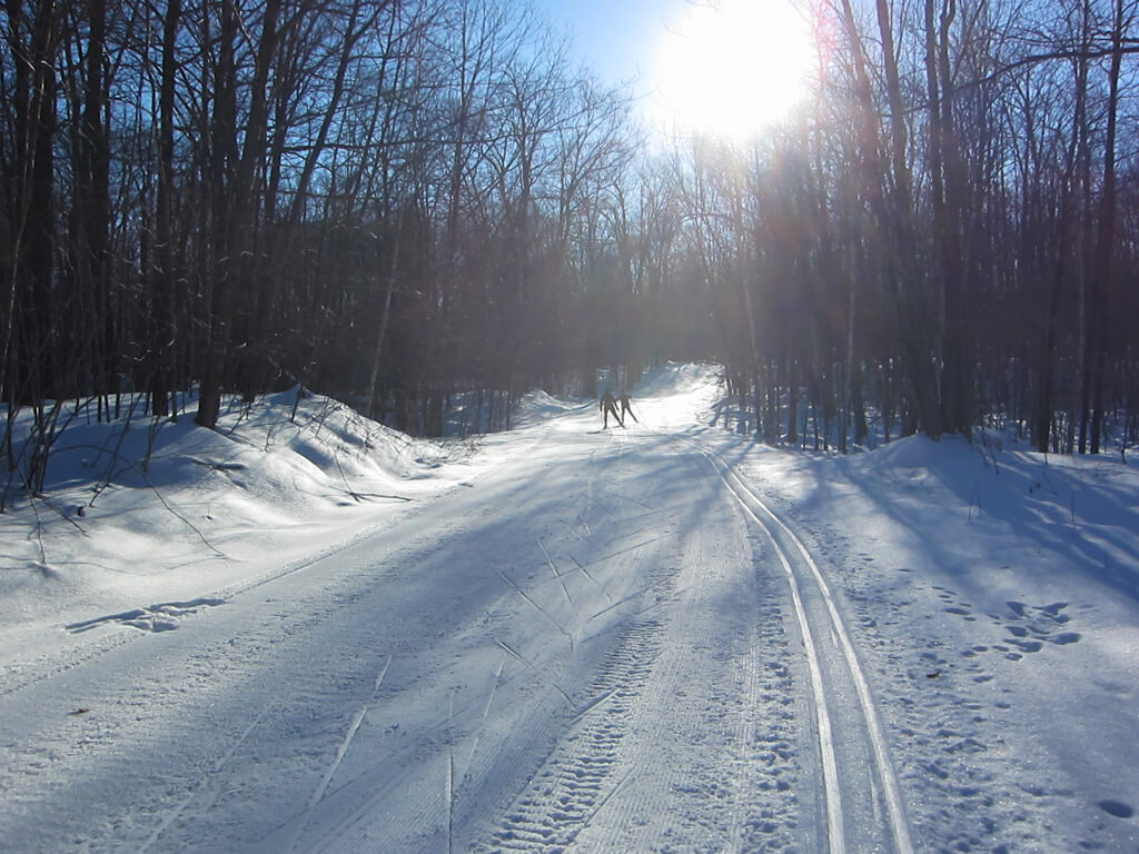 skate skiing on Excelsior Road as part of the Blue Hills Trail