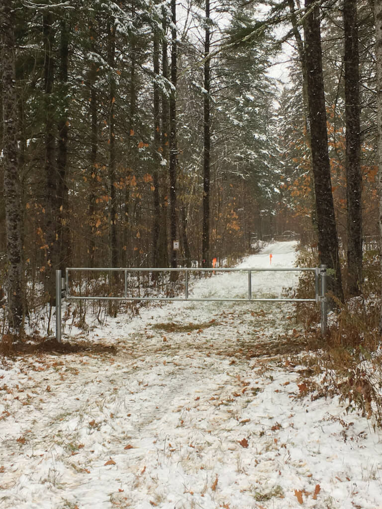 new gate for limiting access to the non motorized trails on the Blue Hills Trail