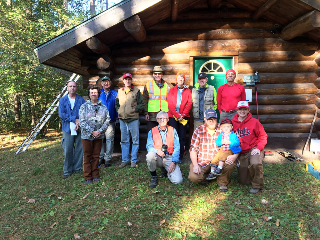 volunteers at annual work day for the Blue Hills Trail in northern Wisconsin