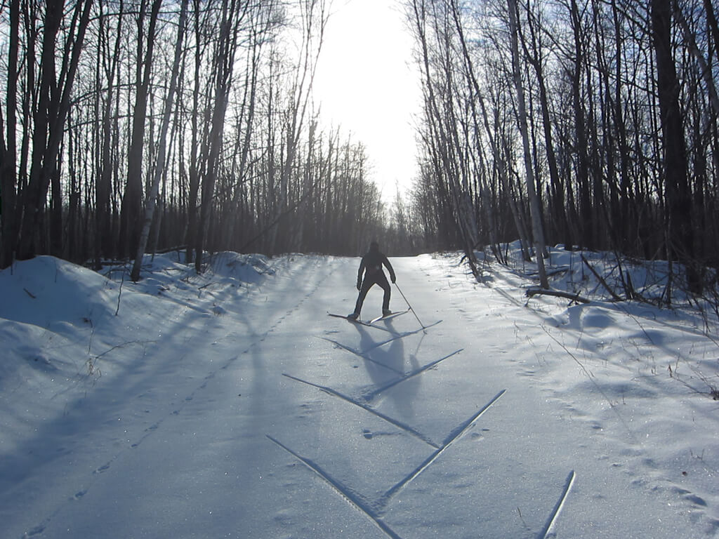 New Years Day 2019 skate skiing on the Blue Hills Trail