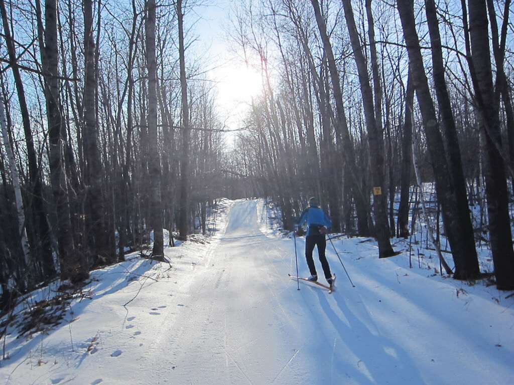 skate skiing on the West Side of the Blue Hills Trail