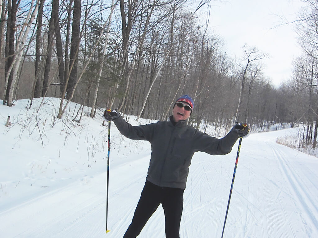 happy skate skier at the Blue Hills Trail